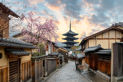Yasaka Pagoda and Sannen Zaka Street with cherry blossom in the Morning, Kyoto, Japan