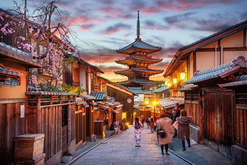 Yasaka Pagoda in Gion at sunset, Kyoto, Japan