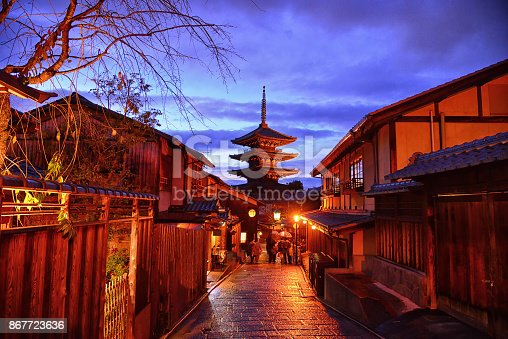 istock Yasaka Pagoda in twilight time at alley of Japanese old town, Higashiyama 867723636