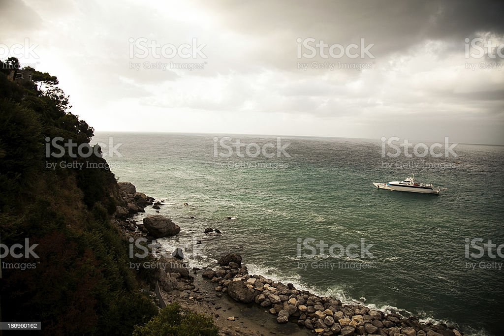 Yatch in the sea stock photo