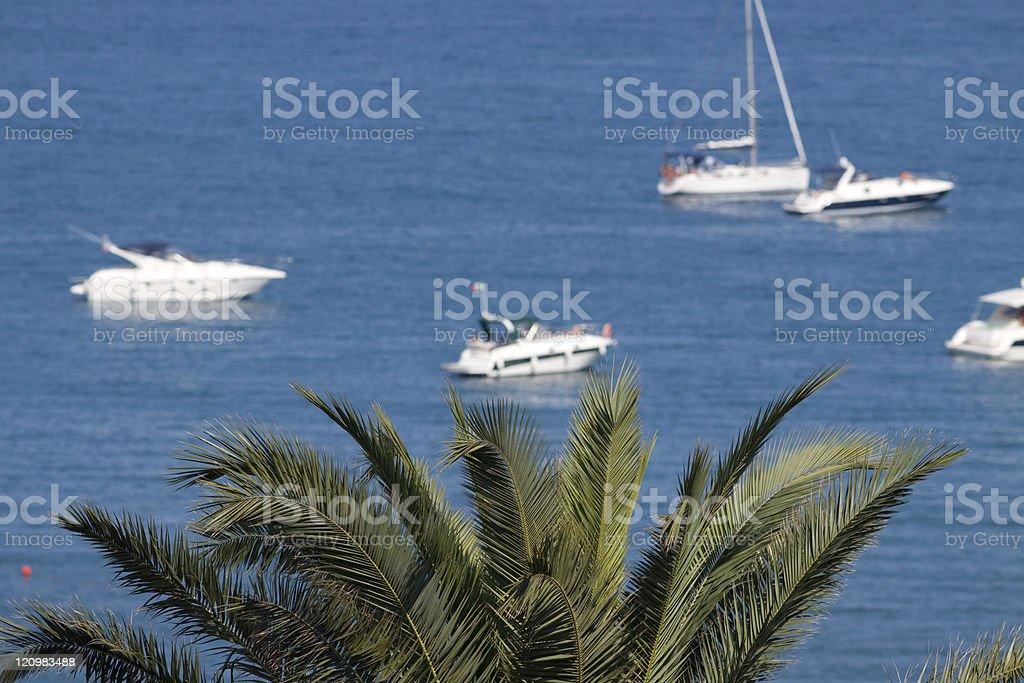Yatch Standing in the Mediterranean Sea, Liguria Italy stock photo