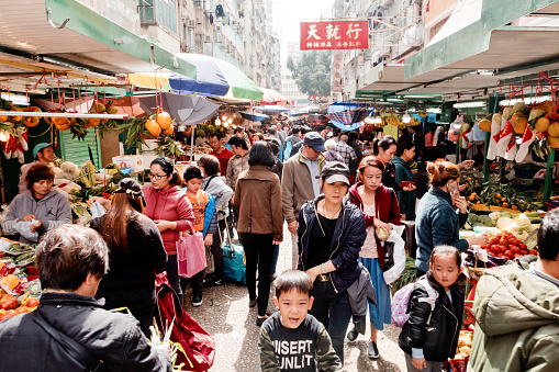 Yau Ma Tei Market With Fresh Vegetable And Seafood Its One Of The Largest Food Markets In Hong Kong Stock Photo - Download Image Now
