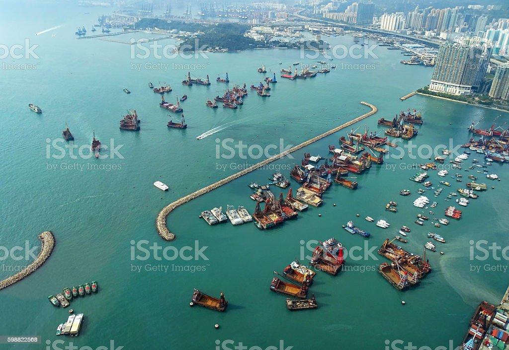 Yau Ma Tei Typhoon Shelter in Hong Kong stock photo