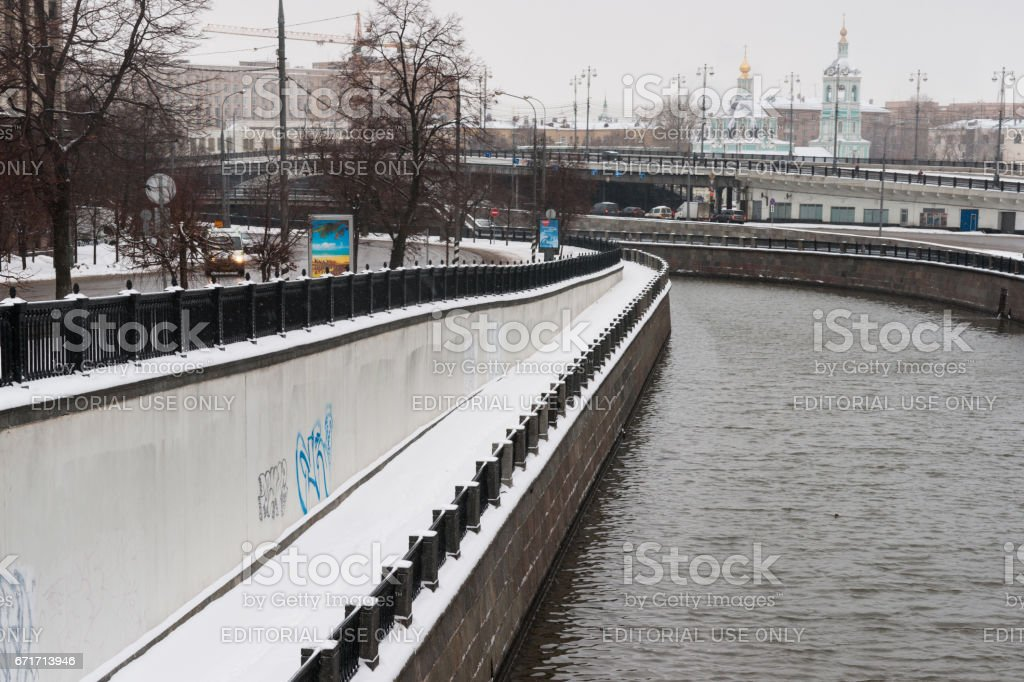 Yauza river in winter season stock photo