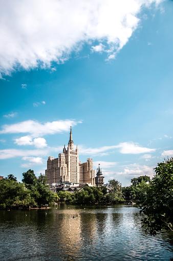 Yauza River Near Kotelnicheskaya Embankment Building In Moscow, Russia