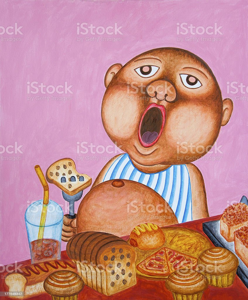 Yawning little boy eating too many bread. royalty-free stock photo