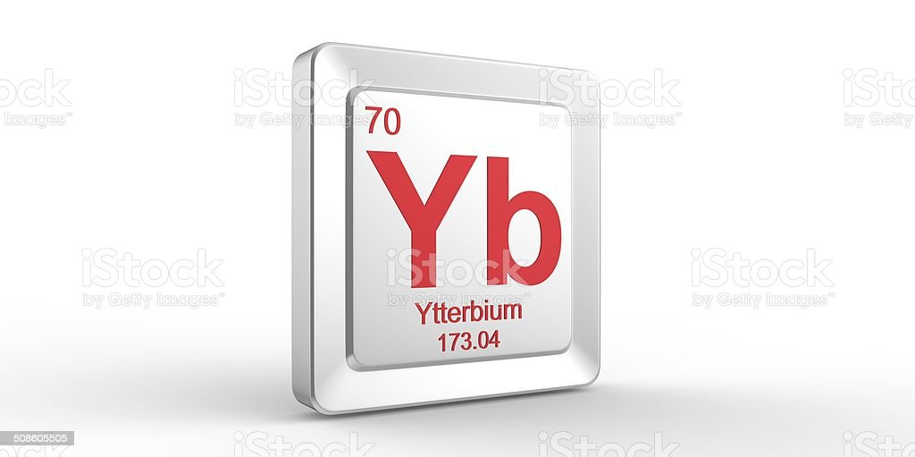 Yb symbol 70 material for ytterbium chemical element stock photo globe navigational equipment outer space periodic table planet earth push button urtaz Images