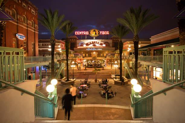Ybor City at night in Tampa Florida USA stock photo