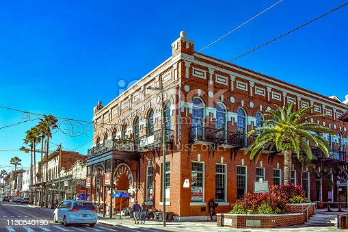 Ybor City Tampa Bay, Florida. January 19 , 2019  Panoramic view of Centro Espanol in 7th Ave.
