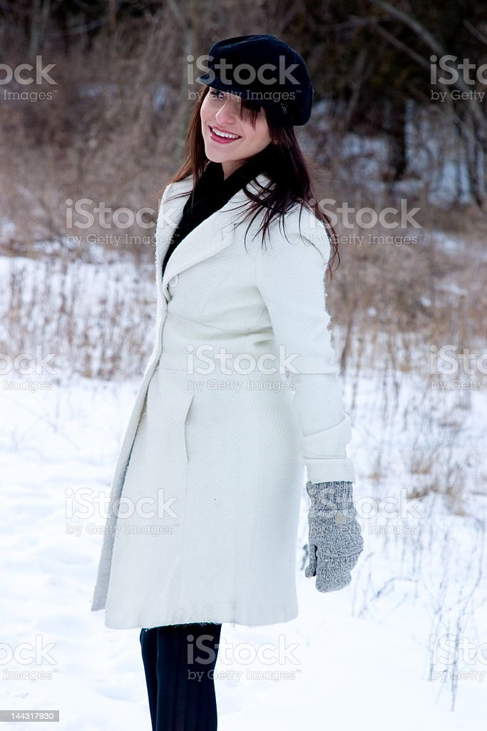 Yeah, she's happy in the cold stock photo