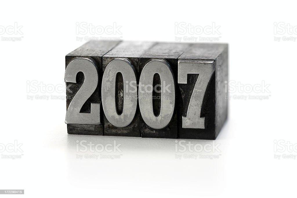 year 2007  letterpress royalty-free stock photo