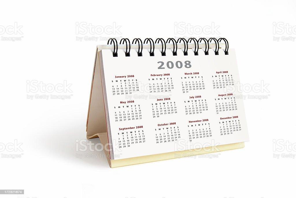 Year 2008 desktop calendar stock photo