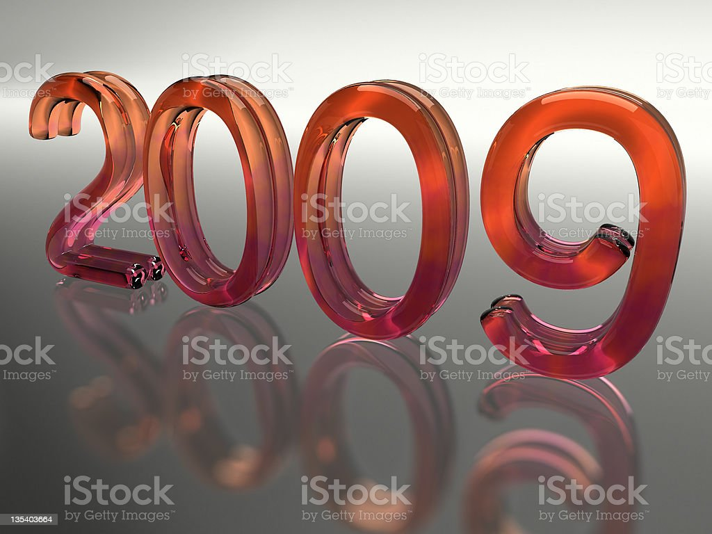 Year 2009 (with clip path) stock photo
