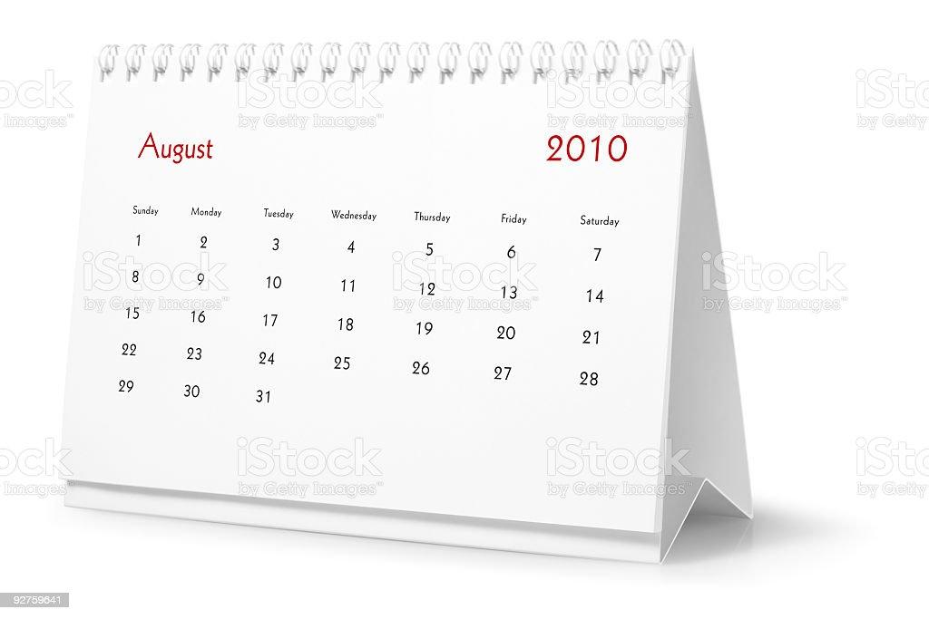Jahr 2010, dem Monat August-desktop-Kalender Lizenzfreies stock-foto