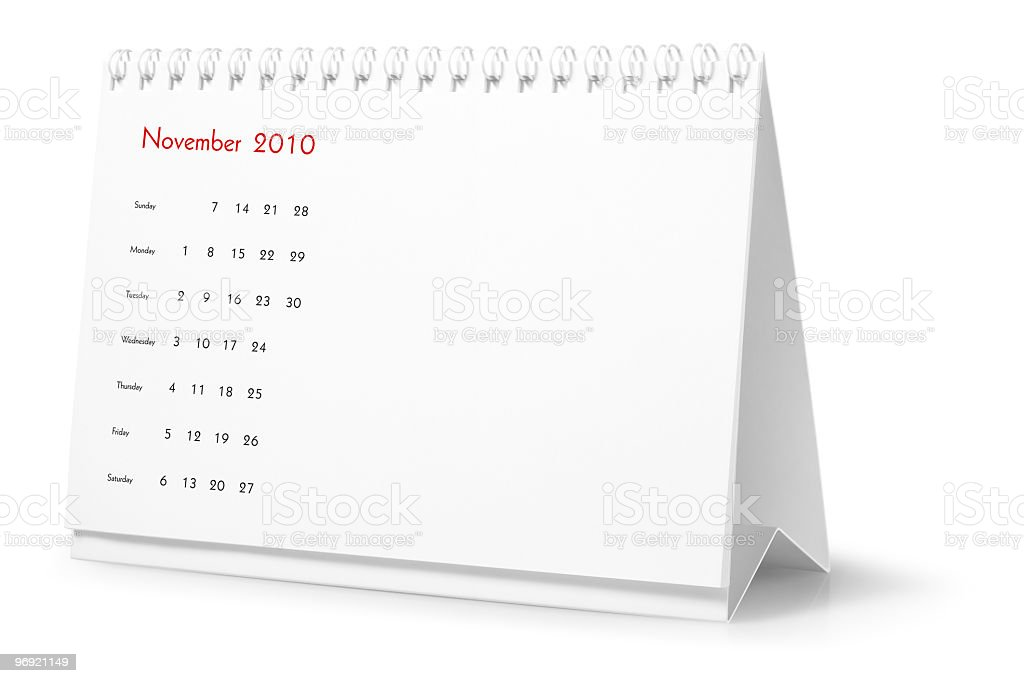 Year 2010, month November  - desktop calendar royalty-free stock photo