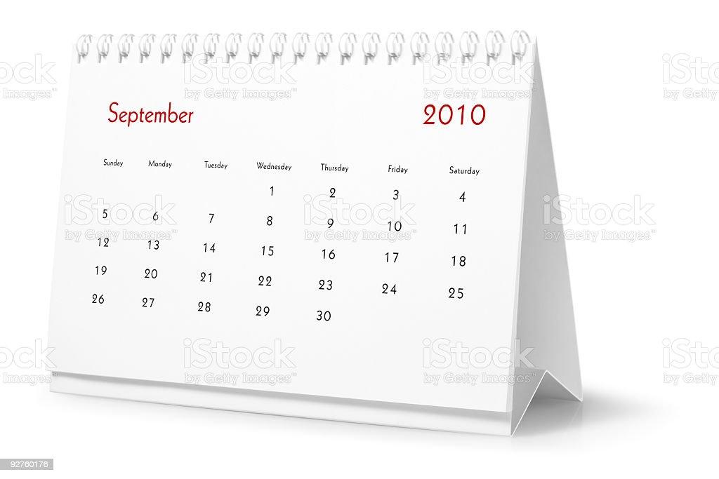 Jahr 2010, ist der Monat September-desktop-Kalender Lizenzfreies stock-foto