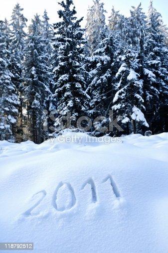 istock Year 2011 in a Winter Landscape 118792512