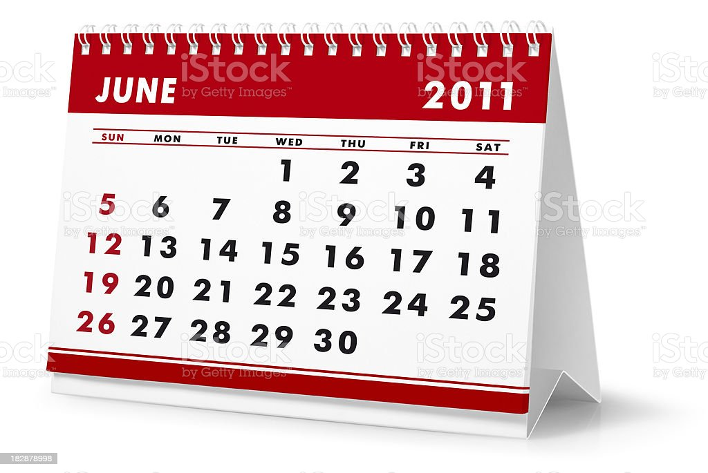 Year 2011, month June - desktop calendar royalty-free stock photo