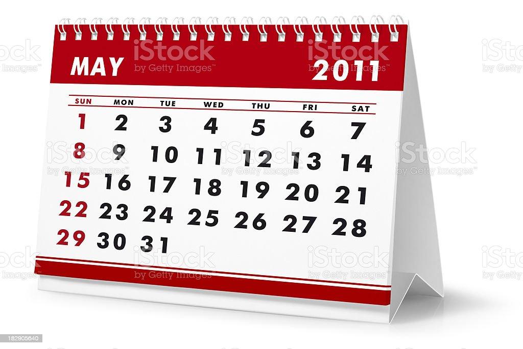 Year 2011, month May - desktop calendar royalty-free stock photo