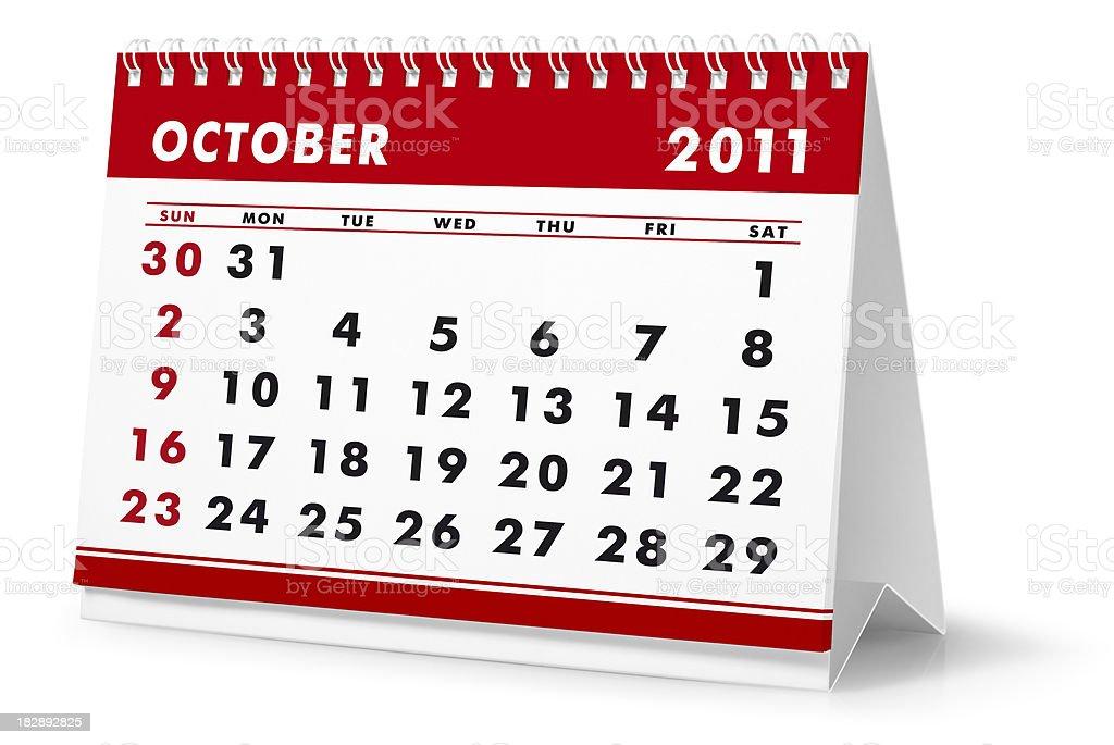 Year 2011, month October - desktop calendar royalty-free stock photo