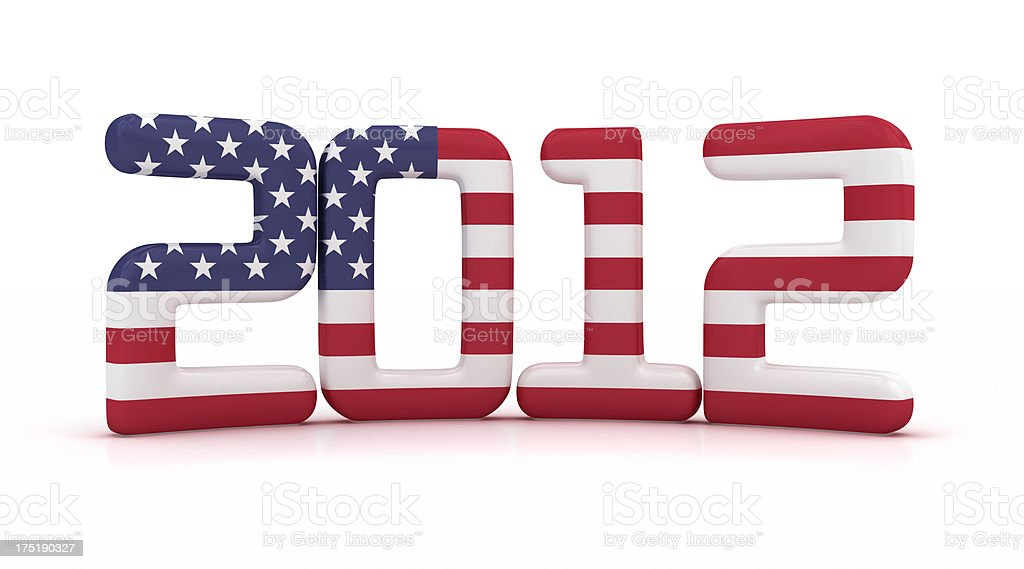Year 2012 with USA flag stock photo