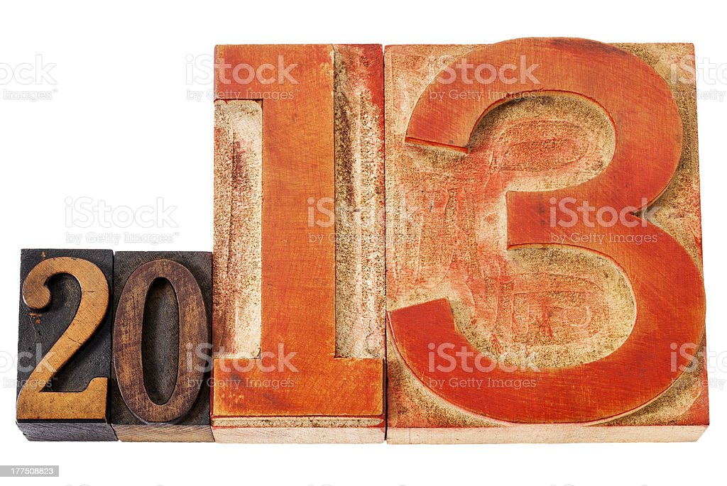 year 2013 in wood type royalty-free stock photo