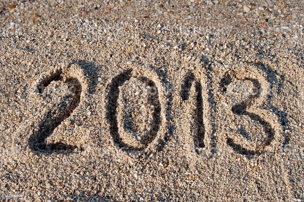 Year 2013 on the beach royalty-free stock photo