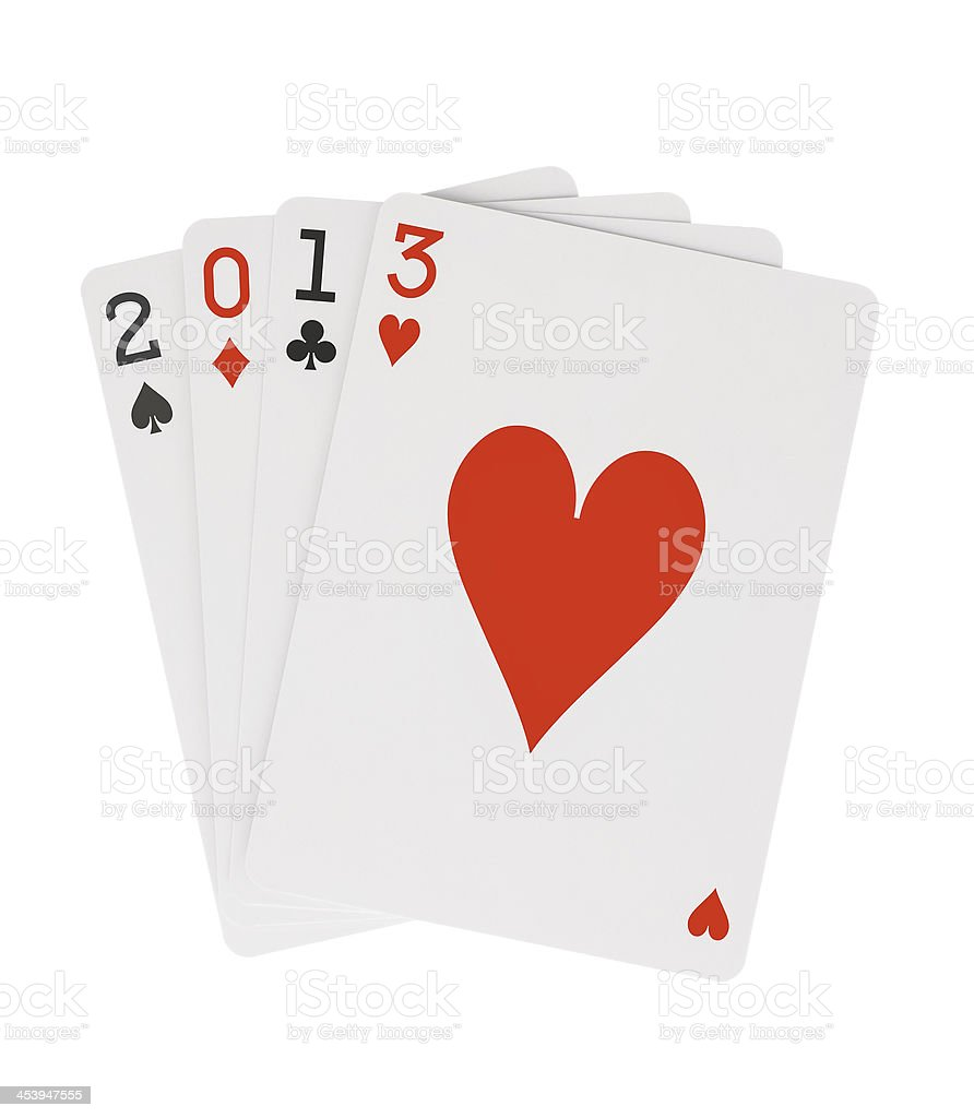 Year 2013 Playing Cards with Hearts on Top Clipping Path royalty-free stock photo