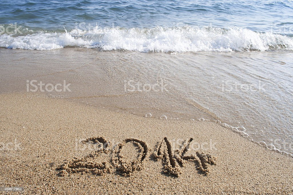 Year 2014 and waves royalty-free stock photo