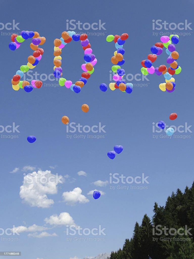 Year 2014 balloons royalty-free stock photo