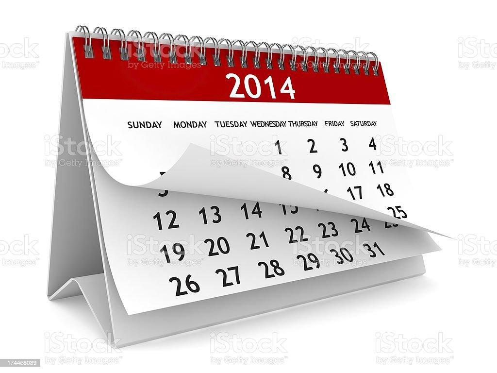 Year 2014 Calendar royalty-free stock photo