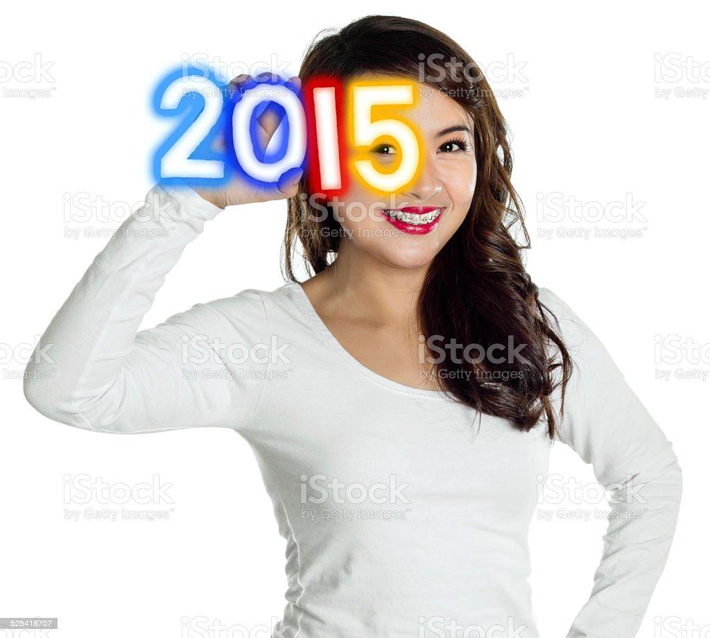 Year 2015 new year greetings stock photo