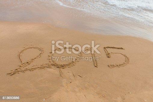 istock Year 2015 on the beach 613650686