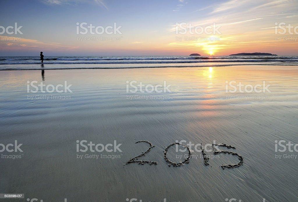 Year 2015 written on sand at Sunset stock photo
