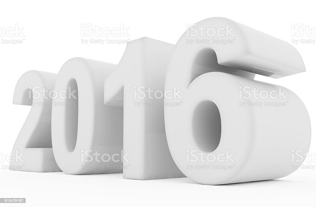 year 2016 white stock photo