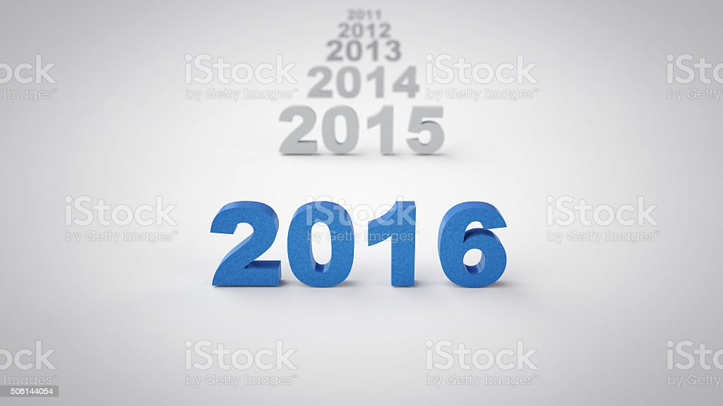 Year 2016 with previous years behind it stock photo