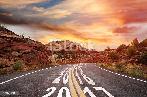 istock Year 2017 changing to 2018 - country road 873798810