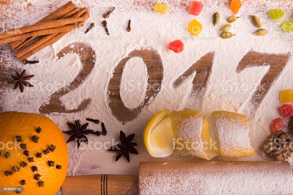 year 2017 inscription of flour on wooden Board stock photo