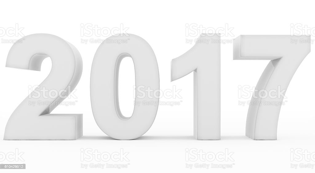year 2017 white stock photo