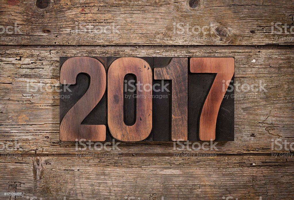Year 2017 written with letterpress type stock photo