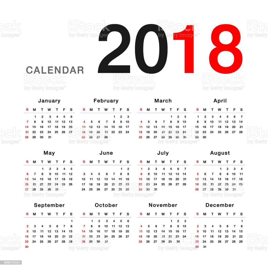 Year 2018 calendar vector design template, simple and clean design. Calendar for 2018 on White Background for organization and business. stock photo