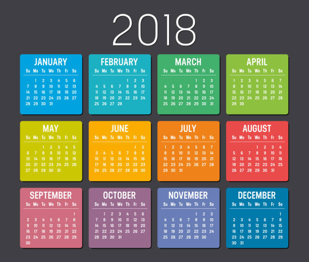Year 2018 calendar vector template stock photo