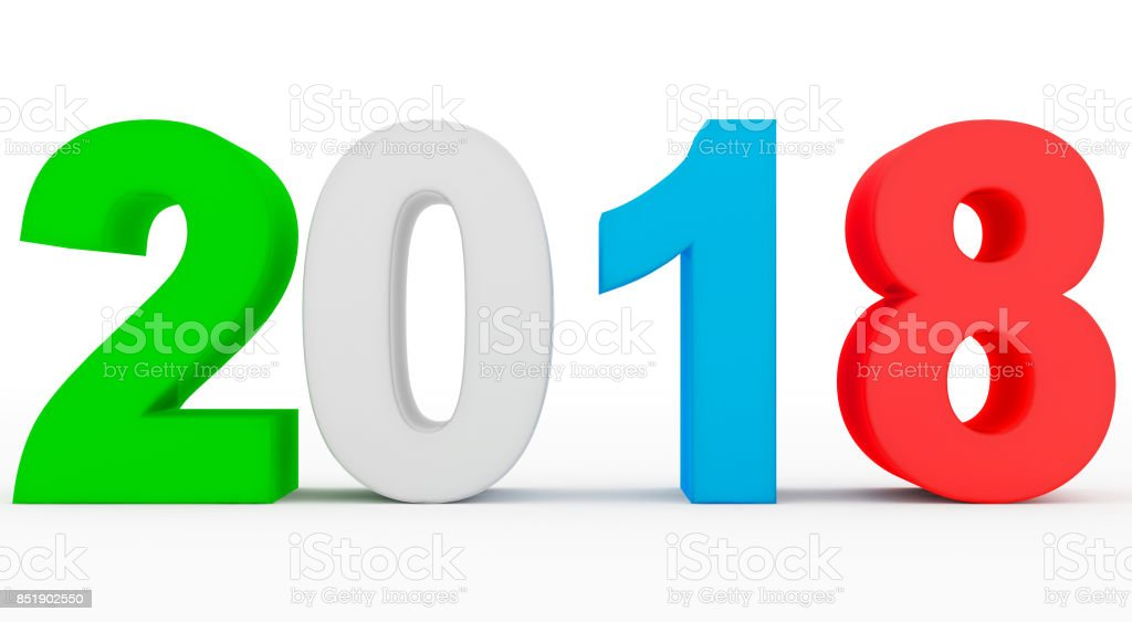 year 2018 colorful 3d numbers isolated on white stock photo