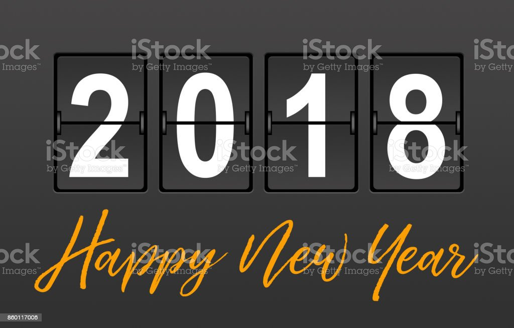 Year 2018 on the Split-Flap Display stock photo