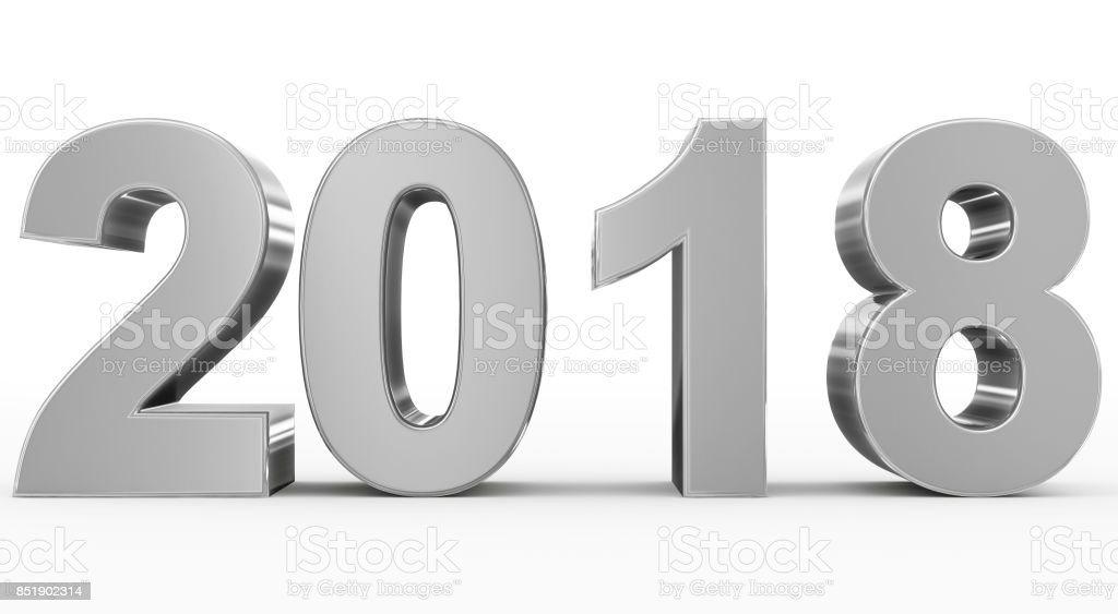 year 2018 silver 3d numbers isolated on white stock photo
