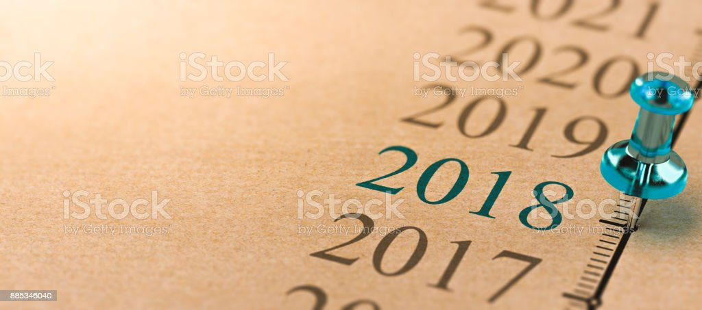 Year 2018, Two Thousand Eighteen on a timeline. stock photo