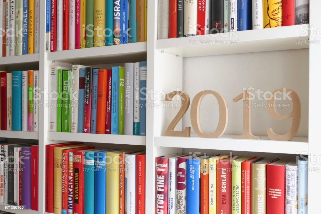 Year 2019 standing on library shelf
