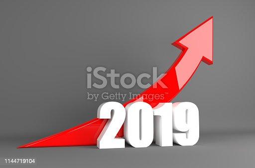 Year 2019 Business Arrow - Growth, 3D illustration