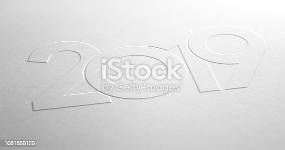 istock Year 2019 Design Embossed on White Paper Background 1081866120