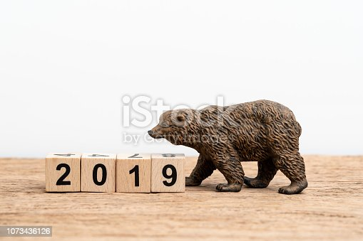istock Year 2019 financial, equity or stock investment bear market concept with bear figure waking with stack of cube block building year number 2019 on wooden table white background with copy space 1073436126